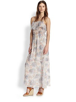 Joie - Rominette Silk Floral-Print Ruffled Maxi Dress