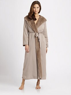 Donna Karan - Faux Fur-Lined Matte Satin Robe