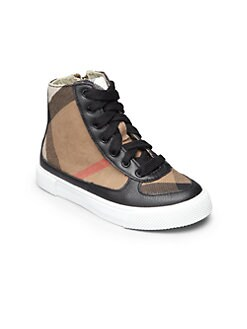 Burberry - Kid's Check High-Top Sneakers