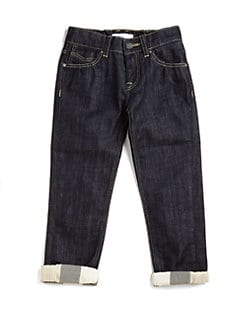 Burberry - Little Girl's Check-Cuffed Jeans