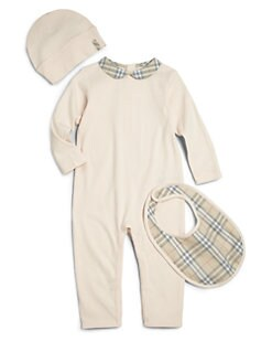 Burberry - Infant's Three-Piece Carina Cotton Coverall, Hat & Bib Set