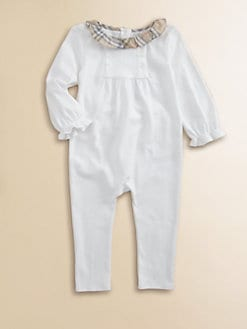 Burberry - Infant's Check Collar Overalls