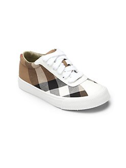 Burberry - Boy's Lenny Lace-Up Check Sneakers