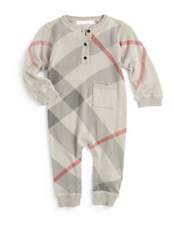 Burberry - Infant's Cashmere-Blend Check Overalls