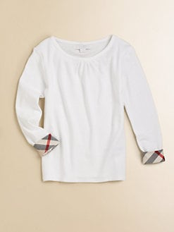 Burberry - Little Girl's Check-Trimmed Tee