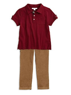 Burberry - Little Boy's Check-Lined Polo Shirt