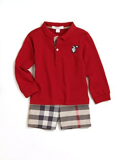 Burberry - Infant's Long-Sleeve Pique Polo/Red