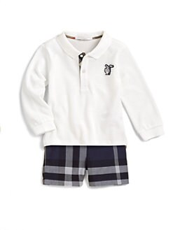 Burberry - Infant's Long-Sleeve Pique Polo/White