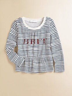 Burberry - Little Girl's Striped Peplum Tee