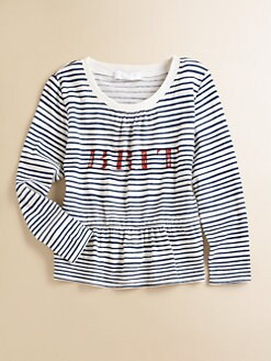 Burberry - Girl's Striped Peplum Tee
