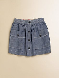 Burberry - Little Girl's Button-Front Chambray Skirt