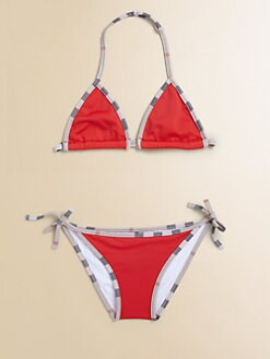 Burberry - Girl's Two-Piece Check Bikini