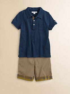 Burberry - Boy's Check-Lined Polo Shirt