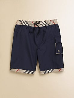 Burberry - Little Boy's Check-Trim Swim Trunks