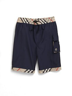 Burberry - Boy's Check-Trim Swim Trunks