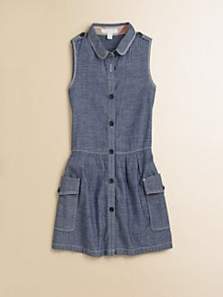 Burberry - Girl's Drop-Waist Chambray Dress