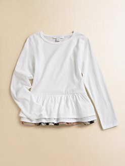 Burberry - Little Girl's Ruffled Peplum Tee