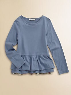 Burberry - Girl's Ruffled Peplum Tee