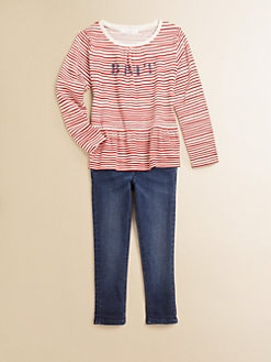 Burberry - Little Girl's Brit Striped Peplum Top