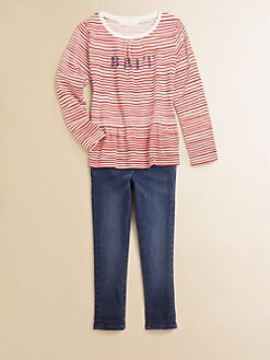 Burberry - Girl's Brit Striped Peplum Top