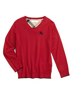 Burberry - Boy's Merino Wool V-Neck Sweater