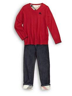 Burberry - Boy's Merino Wool V-Neck Sweater