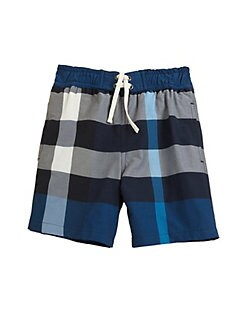 Burberry - Little Boy's Check Swim Trunks