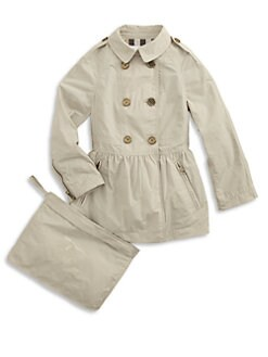 Burberry - Girl's Packable Skirted Trenchcoat