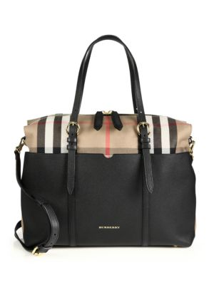 burberry female 188971 mason leather check baby bag