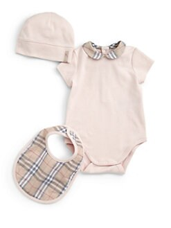 Burberry - Infant's Three-Piece Check Bodysuit, Bib & Hat Set