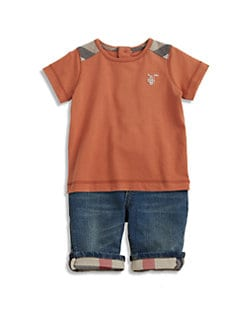 Burberry - Infant's Check Shoulder Patch Tee