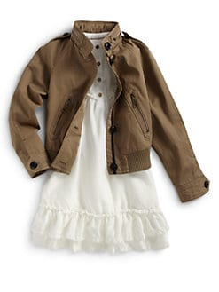 Burberry - Girl's Cropped Gabardine Jacket