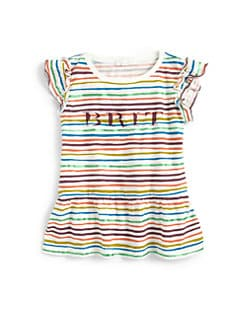 Burberry - Little Girl's Brit Striped Peplum Tee