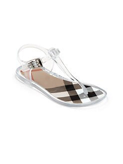 Burberry - Girl's T-Strap Check Jelly Sandals