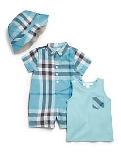 Burberry - Infant's Three-Piece Check Playsuit, Tank & Sun Hat Gift Set