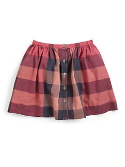 Burberry - Girl's Cotton Check Skirt