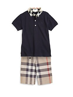 Burberry - Boy's Check Collar Polo Shirt