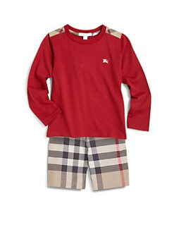 Burberry - Boy's Long-Sleeve Check Shoulder Patch Tee