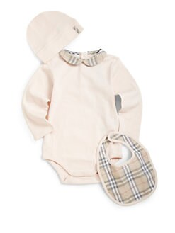 Burberry - Infant's Three-Piece Bodysuit, Bib & Hat Set