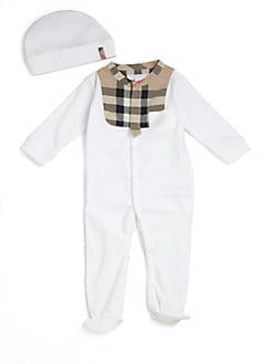 Burberry - Infant's Two-Piece Check Trim Footie & Hat Set