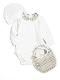Burberry - Infant's Three-Piece Check Trim Bodysuit, Hat & Bib Set