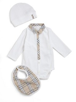 Burberry - Infant's Check Trim Bodysuit, Hat & Bib Set