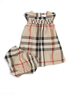 Burberry - Infant's Two-Piece Check Dress & Bloomers Set