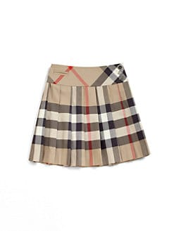 Burberry - Girl's Pleated Check Skirt