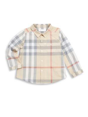 Baby Boy's Plaid Cotton Casual Button Down Shirt