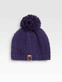 Burberry - Kid's Cable-Knit Pom Pom Beanie