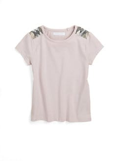 Burberry - Girl's Checkered Shoulder Tee