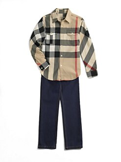 Burberry - Boy's Roll-Up Sleeve Check Shirt