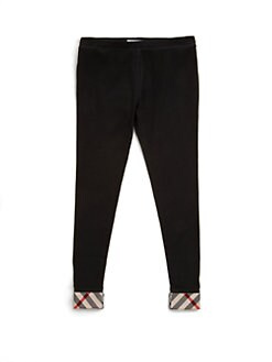 Burberry - Little Girl's Check-Trim Cotton Leggings