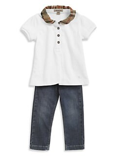 Burberry - Little Girl's Check Pique Polo